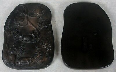 Vintag Deeply Carved Chinese Ink Stone Calligraphy Paint Box Mongoose Bat Signed