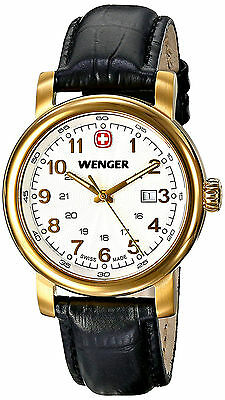 Wenger 01.1021.109 Classic White Dial Black Leather Strap Women's Watch