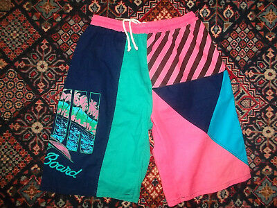 vintage 90`s shorts beach neon pants oldschool sport hawaii surfing surf 90s L