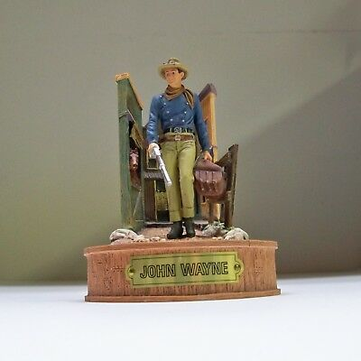 """Franklin Mint John Wayne  """"spirit Of The West"""" Hand Painted Figurine With Dome"""