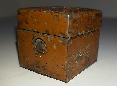 Antique Square Traveling Inkwell Painted Metal 1850 Taffeta