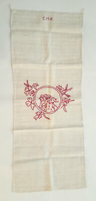 HOMESPUN Linen TOWEL Handwoven PA. German Antique EMBROIDERED by a child - DOG?