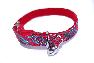 """Pet Palace® """"Celtic Cat"""" tartan adjustable safety cat collar with tinkly bell"""