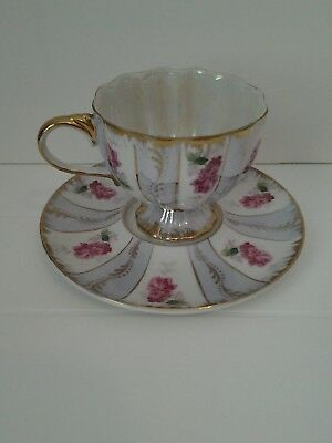 Hand Painted Lefton Tea Cup and Saucer Lusterware 546 Gilded Gold Footed