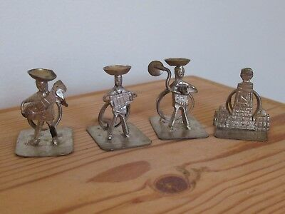 4 Vintage Mexican Mariachi Band Folk Art Silver White Metal Place Name Holders