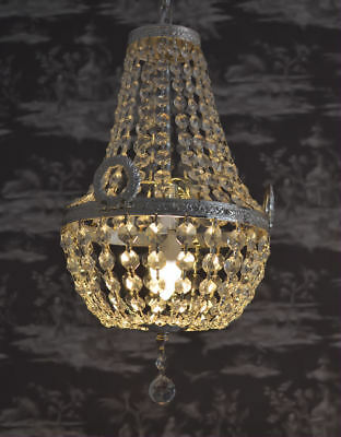 Ceiling Lustre Chandelier Light Glass Crystals Brass Maria Theresia Antique