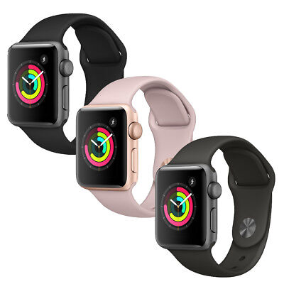 Apple Watch Series 3 38mm (Aluminum Case, Black, Pink Sand or Gray Sport Band)