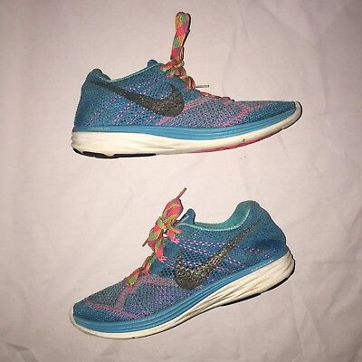 low priced e610e 40d2c Nike Flyknit Lunar 3 Womens Blue Multicolor Rainbow Running Sneakers Size  7.5