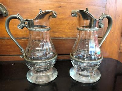 Antique Rare Pair of Early Cut Glass Syrup Pitchers W/ Pewter Lid & Handles Nice