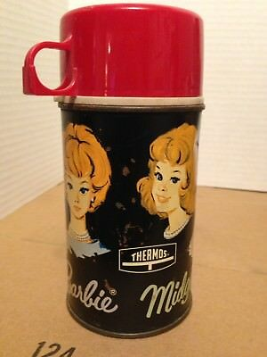 Vintage Barbie Midge & Skipper Metal Thermos 65' Mattel No.#2825