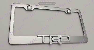 2X 3D MITSUBISHI Emblem Stainless Steel License Plate Frame Rust Free