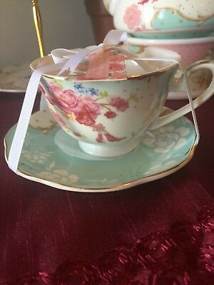 8fb3df0d187 GRACE S TEAWARE TEACUP and SAUCER in NEW Cherry Blosm -Teal