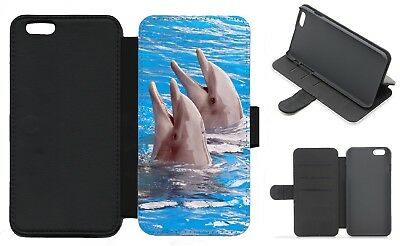 DOLPHIN Wallet Flip Phone Case iPhone Galaxy 4 5 6 7 8 Plus X compatible (B)