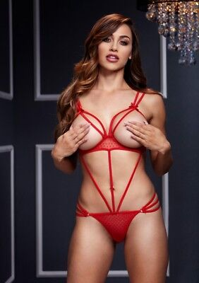 BACI BODYSUIT W OPEN CUP BRA OS RED One Size