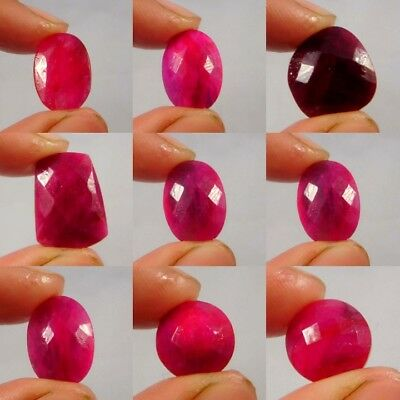 Natural Dyed Faceted Ruby Cut Gemstone W593- 603 Free Shipping