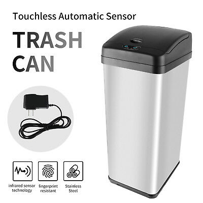 New 13 Gallon Stainless Steel Touchless Sensor Automatic Trash Can Kitchen
