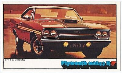 1970 Plymouth GTX 440 4-BBL 2-Door Hardtop NOS Original Dealer Promo Postcard ^