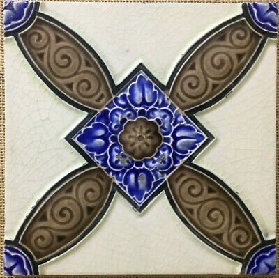 England richards antique tiles majolica c 1900 vintage rare collectible nouveau