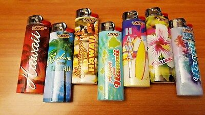 Lot Of 7 Bic Lighters Hawaii Design Collection - New