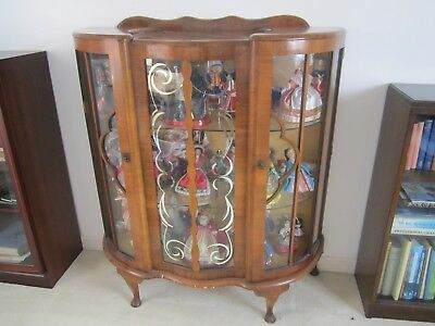 Antique Vintage Walnut veneer Glass Display Cabinet, Bow Fronted Glass.