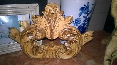 Antique Hand Carved Wood Shabby Chic Pediment
