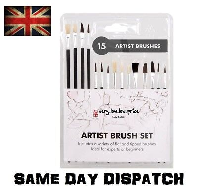 15 Piece Artist Brushes Paint Brush Set Flat POINTED Size Length Tip Art Craft