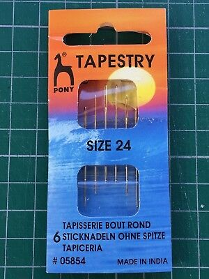 Pony Gold Eye Hand Sewing Needles - Tapestry Size 24    6 needles