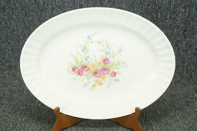 "Edwin M. Knowles Semi-Vitreous Oval Serving Platter 13 1/2"" Floral Ribbed Rim"