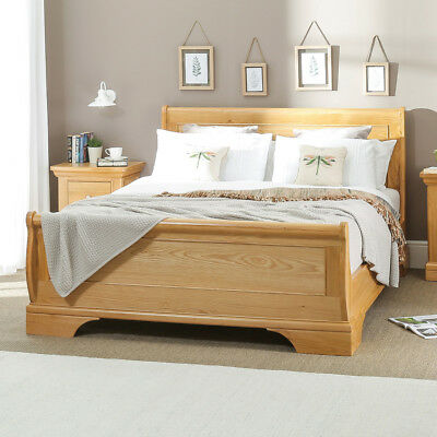 French Classic Oak 4ft 6in Double Sleigh Bed - Solid Bedroom Furniture - CF04