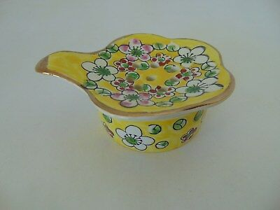 2pc Tea bag holder strainer & bowl porcelain yellow Floral Asian Japan Gold Trim