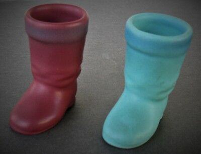 "Vintage Van Briggle Decorative Pottery Boot Holders 2 Post 1950 2 5/8""h"