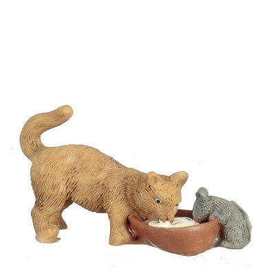 Cat & Mouse Drinking Milk From A Bowl, Doll House Miniature, Pets Miniatures