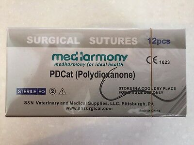 4 boxes of Veterinary Suture, PDO 3-0 45cm 24mm 3/8 rev cutting 12/bx PDCat