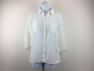 TIMING Womens Size Large White Sheer Button Front 3/4 Sleeve  Blouse Shirt Top