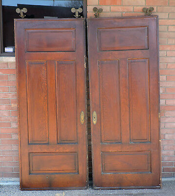 "Pair Of Antique 7' 5"" (89"") Pocket Doors Art Deco Pine +Track & Rollers Hardware"