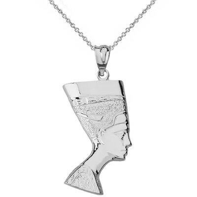 14k Solid White Gold Egyptian Queen Nefertiti Face Statue Pendant Necklace