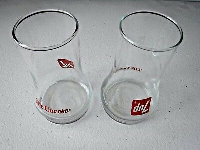 Vintage~7 Up the Uncola Glass~ Upside Down~Red Decals~Soda Advertising Premium