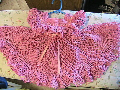 GORGEOUS rose & pearl fleck FRILLY BABY DRESS Size 6-12 months~flower buttons