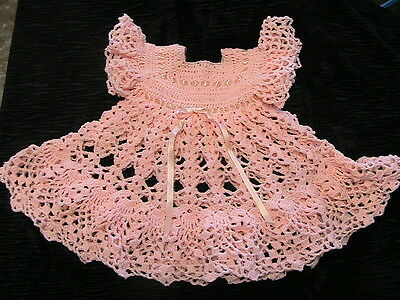 PEACH & pearl fleck PRECIOUS BABY DRESS Size 3-6 month~flower buttons~satin ties