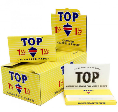 TOP 1 1/2 Rolling Papers - Box 24 PACKS - Fine Gummed Cigarette RYO Tobacco 1.5