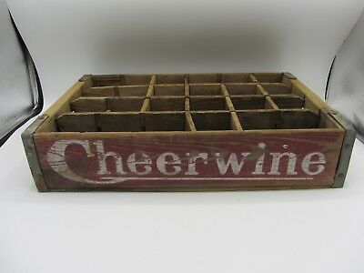 Vintage Antique Cheerwine Wooden Soda Bottle Crate Carrier Old Style 24 Pack