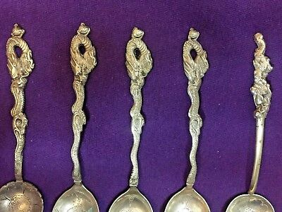 Sterling Silver 84 Dragon Souvenir Spoons set of 5 Nagasaki Japan Collectible