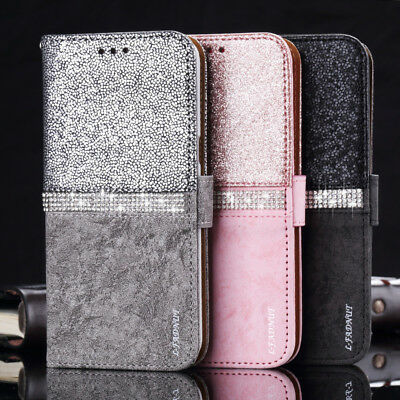 Bling Glitter Diamond Leather Wallet Flip Stand Case Cover For Samsung Galaxy