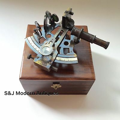 Antique Brass Pocket Sextant Navigation Nautical Marine Vintage Wooden Box GIFT