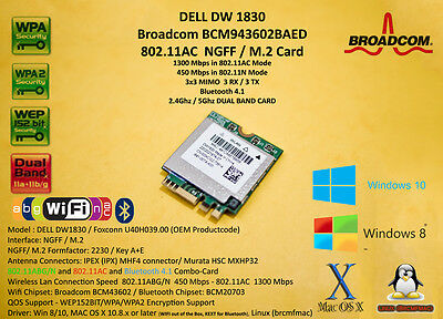 DELL DW1830 Broadcom BCM943602BAED M.2 NGFF 802.11AC 1300Mbps BT4.1 Hackintosh