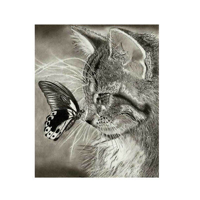 5D Diamond Katze Schmetterling Painting Diamant Bilder Malerei Stickrei DIY Deko