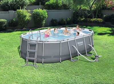Bestway Power Steel™ Oval Pool Set 424x250x100cm ovaler Stahlrahmenpool, 56620