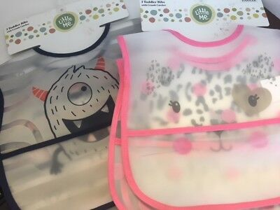 Little Me, 3 pk Bibs Toddler Bibs with Crumb Catcher, Boys Girls available 0-12M