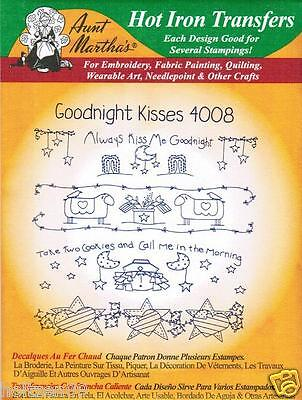 Goodnight Kisses #4008 Aunt Martha's Hot Iron Embroidery Transfer Pattern