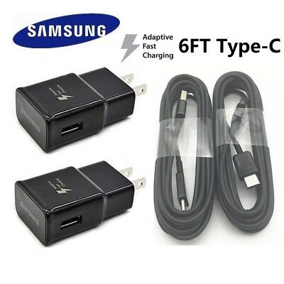 Lot Samsung Galaxy S9 S8 Plus Note8 Fast Car OEM Wall Charger 6FT Type-C Cable